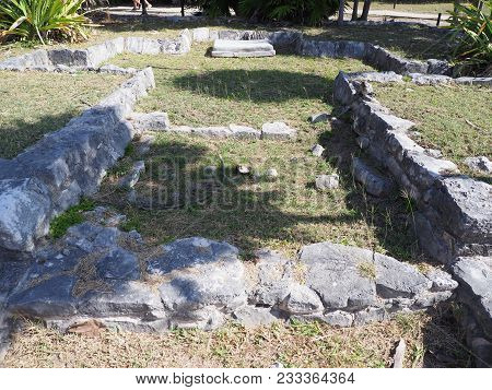 Ancient Ruins Of Stony Building At Tulum Mayan City In Mexico, Large Archaeological Sites, Cross Pla