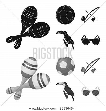 Brazil, Country, Ball, Football . Brazil Country Set Collection Icons In Black, Monochrom Style Vect