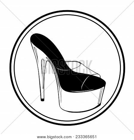 Logo Pole Dance Lettering With Pole Dance Stripper Shoes. Hand Sketched For Fitness, Athlete, Stript