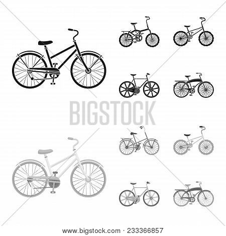 Children Bicycle And Other Kinds.different Bicycles Set Collection Icons In Black, Monochrom Style V