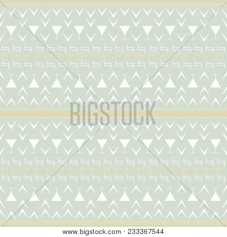 Seamless Abstract Geometric Pattern In Pastel Colors. Simple Vector Print With Stripes, T And V Shap