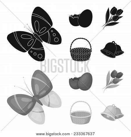 Chocolate Egg, Bells, Basket And Flowers.easter Set Collection Icons In Black, Monochrom Style Vecto