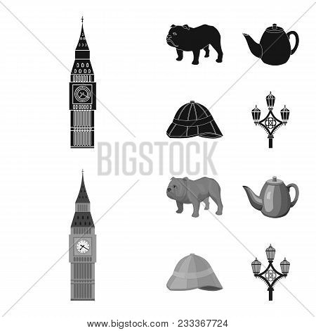 Breed Dog, Teapot, Brewer .england Country Set Collection Icons In Black, Monochrom Style Vector Sym