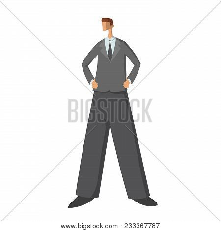 Confident In Himself Young Businessman Standing With Hands On Hips. Vector Character Illustration In