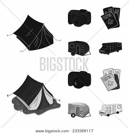 Vacation, Photo, Camera, Passport .family Holiday Set Collection Icons In Black, Monochrom Style Vec