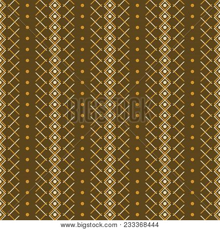 Seamless Abstract Geometric Pattern In Brown And Orange Colors. Simple Elegant Vector Ornament In Ru