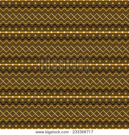 Seamless Geometric Pattern Of Cross Zigzag, Waves, Dots, Stripes. Brown And Orange Colors. Cute Rust