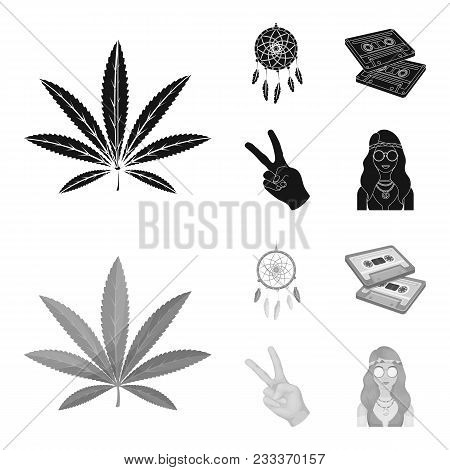 Amulet, Hippie Girl, Freedom Sign, Old Cassette.hippy Set Collection Icons In Black, Monochrom Style