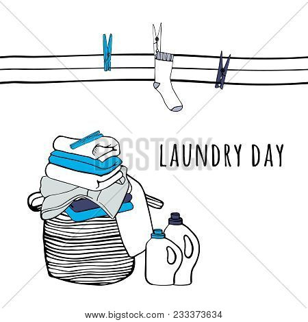Clothesline With Socks And Clothespins. Folded Sheets, Towels And A Detergent. Isolated Symbols Of L
