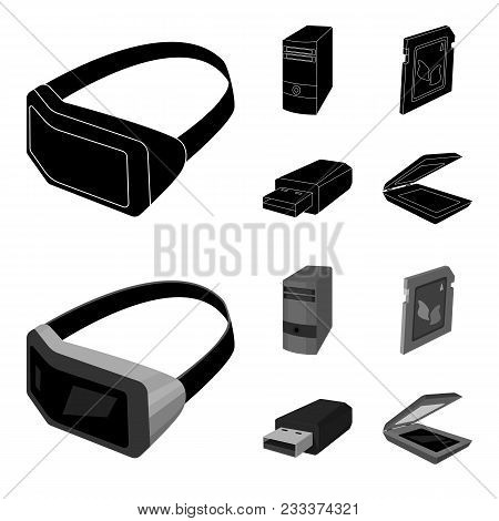 A System Unit, A Flash Drive, A Scanner And A Sd Card. Personal Computer Set Collection Icons In Bla