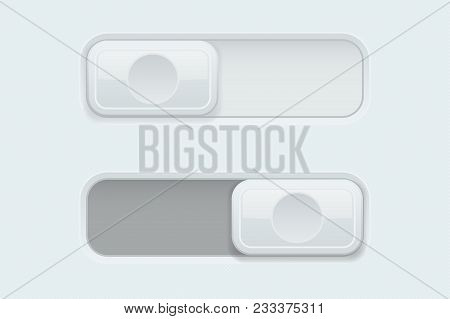 On And Off White Plastic Slider Buttons. Vector 3d Illustration