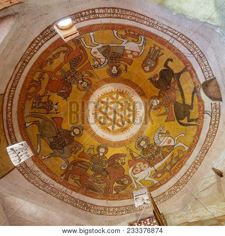 Cairo, Egypt - March 24 2018: Dome With Coptic Fresco Paintings Including The Flower Of Life At The
