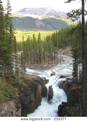 River Upstream From Upper Sunwapta Falls - Jasper National Park, Alberta, Canada