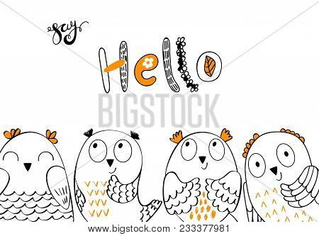 Card With Cartoon Owls In Bright Colors. Hello.