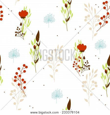 Vector Seamless Floral Background With Plants And Berries