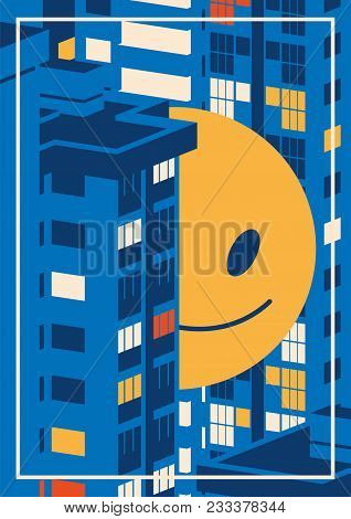 Nigth Cityscape And Giant Smiley Emoji Between The Houses. Concept Flat Vector Illustration Nigth Ci