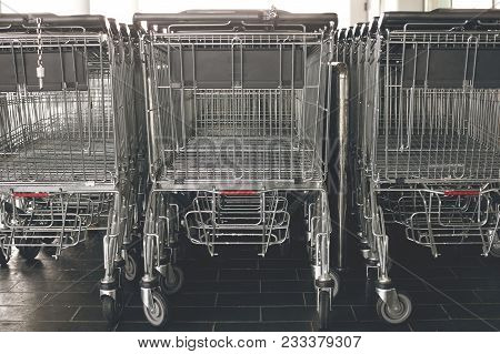 View Of Shopping Carts In A Supermarket.