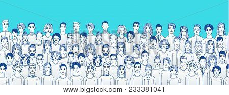 Concept Of Community. The Crowd Of Abstract Hand Drawn People On Red Background, Line Style.