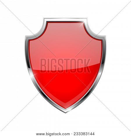 Metal 3d Red Shield. Vector Illustration Isolated On White Background