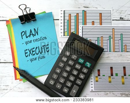 Plan and execution, written on sticky note
