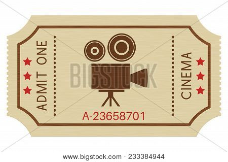 Cinema Paper Ticket. Old Retro Styled Ticket. Vector Illustration Isolated On White Background