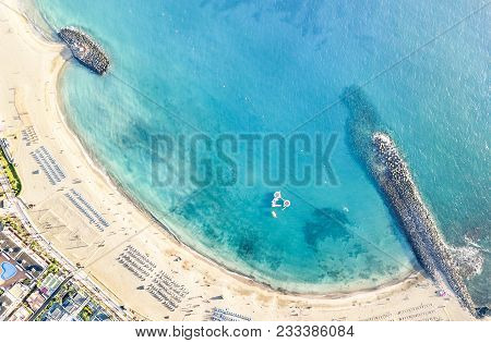 Aerial View Of Los Cristianos Bay Beach In Tenerife With Sunbeds And Umbrellas Miniature - Travel Co