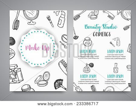 Make Up Hand Drawn Brochures. Doodle Beauty Posters Collection Of Brushes, Nail Polishes, Lipsticks.