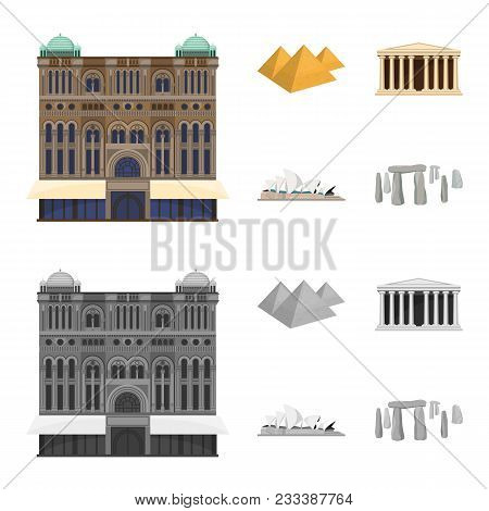 Sights Of Different Countries Cartoon, Monochrome Icons In Set Collection For Design. Famous Buildin