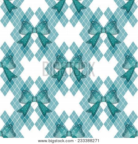 Mint Blue Green Tartan With Tie Bows Vintage Background Vector Illustration.