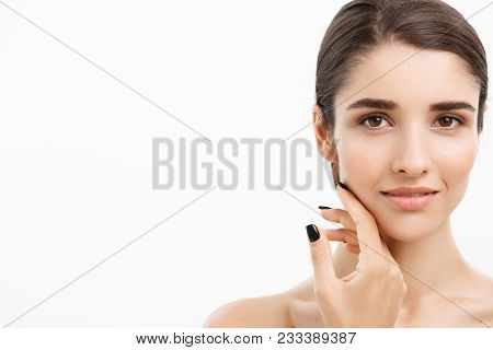 Beauty Youth Skin Care Concept - Close Up Beautiful Caucasian Woman Face Portrait. Beautiful Spa Mod