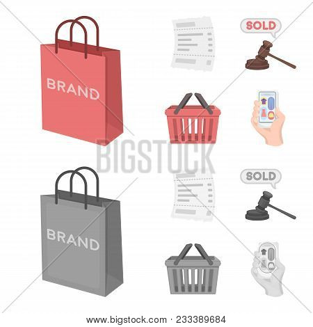 Bag And Paper, Check, Calculation And Other Equipment. E Commerce Set Collection Icons In Cartoon, M