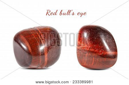 Macro Shooting Of Natural Gemstone. Natural Mineral Stone Bull's Eye. Isolated Object On A White Bac