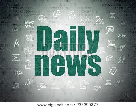 News Concept: Painted Green Text Daily News On Digital Data Paper Background With  Hand Drawn News I