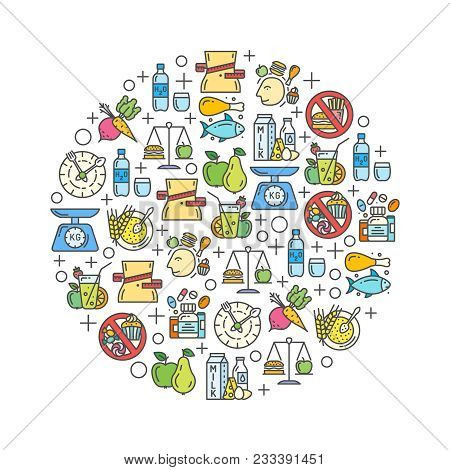 Healthy Diet Background With Color Outline Icons. Concept For Healthy Eating, Rational Nutrition, Sl