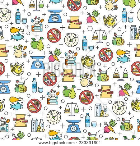 Healthy Diet Icons Seamless Pattern, Healthy Eating, Rational Nutrition Icons, Slimming Loss Weight,