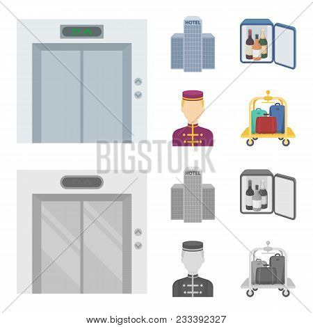 Elevator Car, Mini Bar, Staff, Building.hotel Set Collection Icons In Cartoon, Monochrome Style Vect