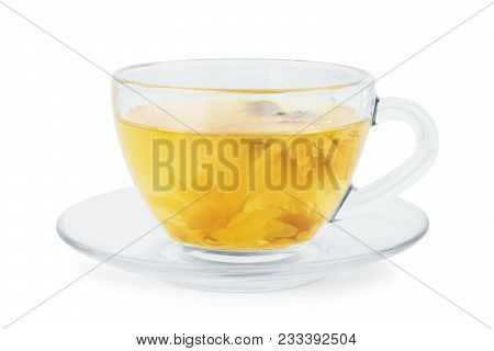 A Phyto Tea In A Transparent Cup On A White Background