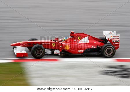 SEPANG, MALAYSIA - APRIL 8: Fernando Alonso of the Scuderia Ferrari Team takes to the tracks on practice day of the Petronas Malaysian F1 Grand Prix on April 8, 2011 in Sepang, Malaysia.