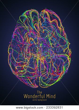 Vector Colorful Illustration Of Human Brain With Synapses. Conceptual Image Of Idea Birth, Creative