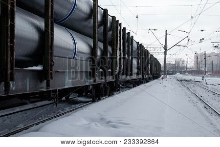 Wagons Of Freight Train On Rails. Long Train With Wagons.