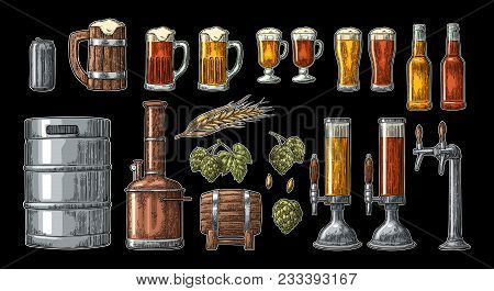 Beer Set With Tap, Glass, Can, Bottle, Hop Branch With Leaf, Ear Of Barley, Wooden Barrel And Tanks
