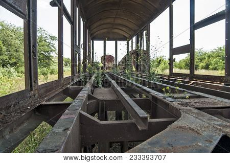 Old Devastated Railway Wagon In The Grass