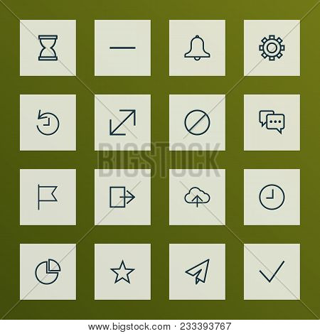 User Icons Line Style Set With Enlarge, Origami, Watch And Other Ban Elements. Isolated Vector Illus