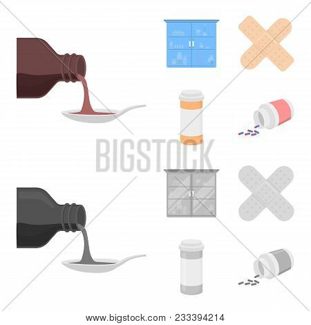 Syrup In A Spoon, Plaster, Honey, Medical Cabinet.medicine Set Collection Icons In Cartoon, Monochro
