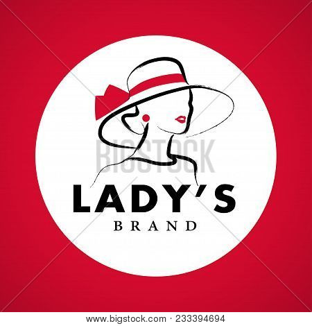 Vector Artistic Logo With Hand Drawn Lady In Hat Portrait Isolated On White Background. Outline Draw