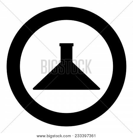 Flask  Icon Black Color In Circle Or Round Vector Illustration