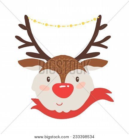 Rudolf Deer In Red Scarf Icon Isolated On White Background. Vector Illustration With Smiling Animal