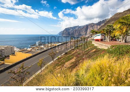 Colourful Painted Fishing Boat Near The Ocean In Los Gigantes, Tenerife, Canary Islands, A Picture P