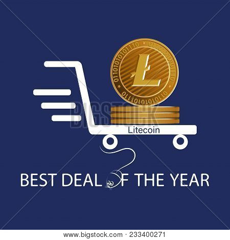 Golden Litecoin. Best Deal Of The Year. Symbol Of A Physical Coin. Digital Sign Of Crypto Currency O