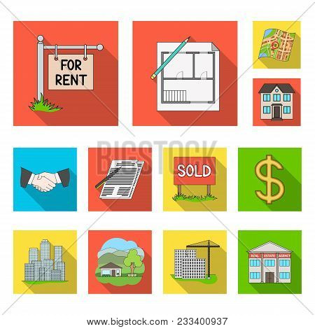 Realtor, Agency Flat Icons In Set Collection For Design. Buying And Selling Real Estate Vector Symbo